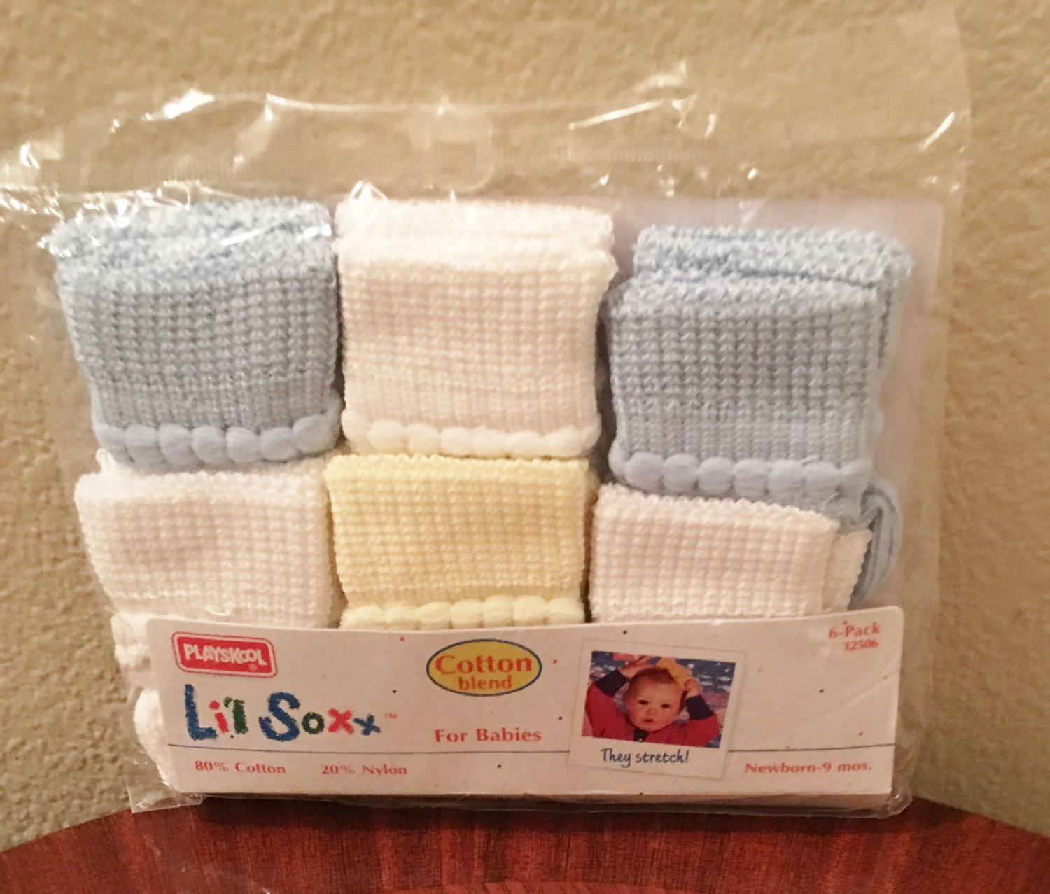 New BABY Li'l Soxx Playschool Infant 6 PACK Socks Newborn-9 Months Pastels Cotton Blend