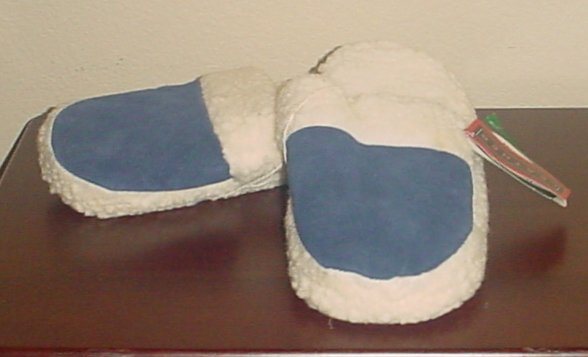NEW Ladies SLIPPERS Mountain Country Sherpa Lined Scuffs 10M BLUE SUEDE