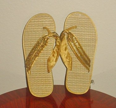 NEW Ladies SEQUIN FLIP FLOPS Rafia Thong Sandals SIZE 7 GOLD Beach Shoes