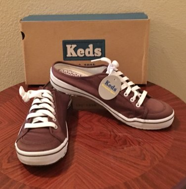 NIB Keds SNEAKER MULES Ladies Athletic SIZE 11 BROWN Canvas Comfort Shoes