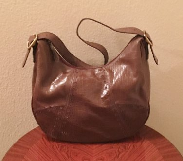 Ladies Villager by Liz Claiborne HOBO PURSE Large Shoulder Bag CHOCOLATE BROWN Croc