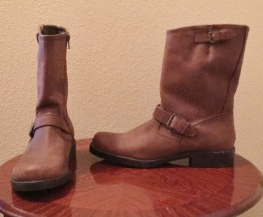 NEW Ladies MOTO BOOTS Mid Calf Buckle Trim SIZE 11 BROWN LEATHER Shoes