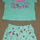 NWT Girls SHORT SET Looney Tunes 2 PIECES Size 6/6X Cotton AQUA BLUE