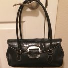 NEW Worthington PURSE HANDBAG Ladies BLACK Leather/Croc Finish