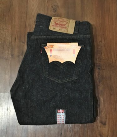 NWT Mens LEVI'S 501 JEANS Classic 5 Pocket Button Fly 36 x 32 BLACK DENIM Pants