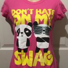 "NEW Juniors GRAPHIC T-SHIRT ""Don't Hate On My Swag"" Top MEDIUM Pink Cotton"