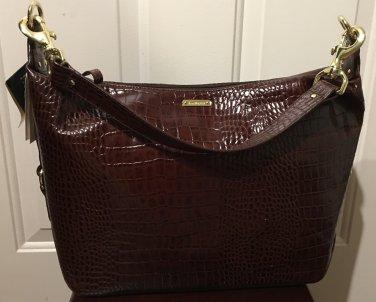 NWT Lauren RALPH LAUREN PURSE Croc Hobo Shoulder Bag Large BROWN