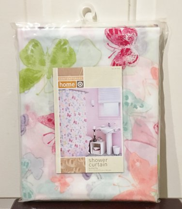 New SHOWER CURTAIN Home BUTTERFY PRINT Vinyl Bath Shower Multicolor