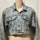 Ladies VINTAGE DENIM JEAN JACKET 80's ACID WASH Blue Denim MEDIUM
