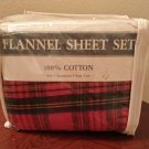 New CAL KING FLANNEL SHEET SET Red Tartan Plaid 4 PIECE Warm 100% Cotton