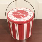 HOLIDAY COOKIE CANDY TIN Majestic Gift Giving Christmas 1/2 gallon RED/WHITE New
