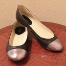 NIB Liz Claiborne BALLET FLATS Ladies Cap Toe Shoes SIZE 11M BLACK Leather