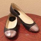 NIB Liz Claiborne BALLET FLATS Ladies Cap Toe Shoes SIZE 11M BLACK Leather