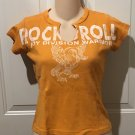 New GUESS T-SHIRT Juniors Graphic Top SMALL 100% Cotton ORANGE