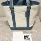 New COACH BUCKET BAG Leather Trim Straw Purse Rare 8909 BLUE/CREAM