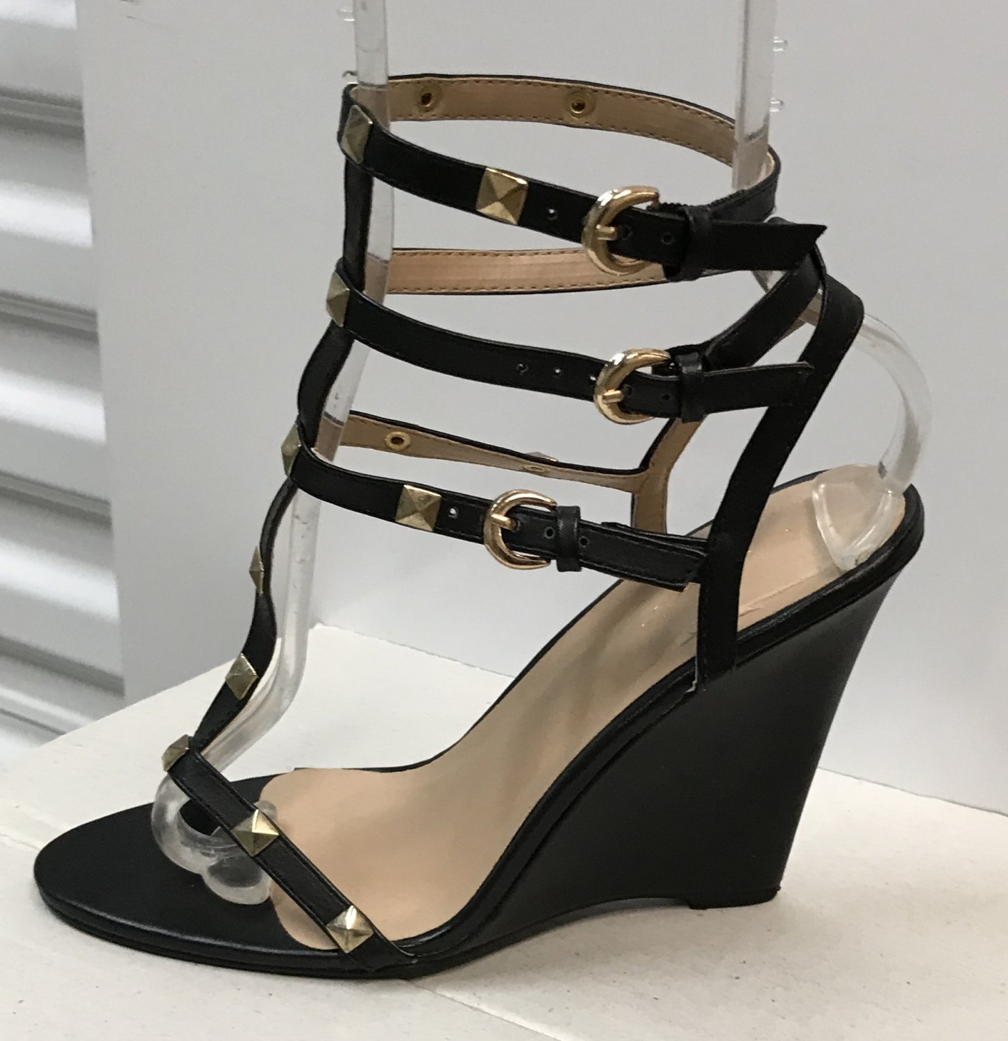 9b90577933a Ladies WEDGE SANDALS Caged Heels SIZE 9 BLACK Leather Shoes with Gold Studs