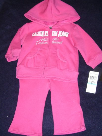 CALVIN KLEIN GIRLS WARM-UP JOGGING SUIT 9 MONTHS TAG $40