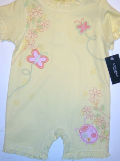 SONOMA GIRLS ROMPER AND BIB SIZE 3-6 MONTHS NWT