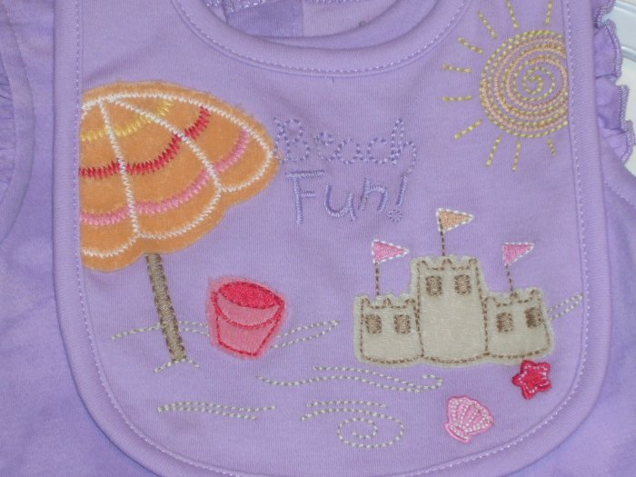 SONOMA GIRLS ROMPER AND BIB SIZE 0-3 MONTHS nwt