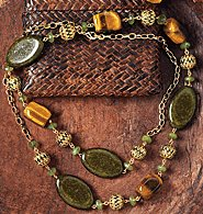 Avon Long Green Necklace With Tiger's Eye Accents
