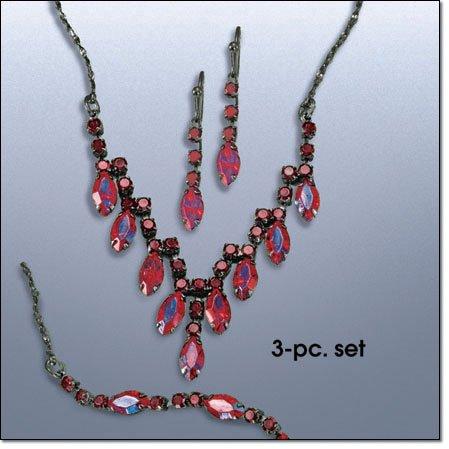 Avon Red Chevron Three-Piece Gift Set Costume Jewelry Vintage Look Necklace Earrings Bracelet