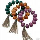 Avon Chunky Beaded Stretch Bracelet  Amethyst Costume Jewelry VHTF