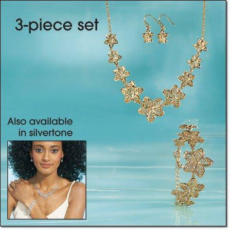 Avon 3 Piece Filigree Flower Necklace Gift Set ~ Silvertone Costume Jewelry