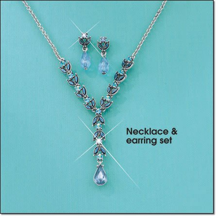 Avon Blue Necklace and Earring Gift Set ~ Silvertone Costume Jewelry Christmas