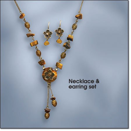Avon Tiger's Eye Medallion Necklace & Earring Set ~ Burnished Brasstone Costume Jewelry Antique