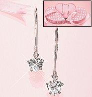 Avon Wire Heart Drop Earrings in Box ~ Clear Cubic - Silvertone ~ CZs Costume  Jewelry Christmas