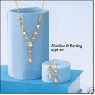 Avon Pretty Pearlesque White Y Necklace Gift Set ~ Goldtone Jewelry Costume Christmas VHTF