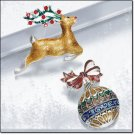 Avon Holiday Cheer Pin ~ Reindeer Costume Jewelry Brooch