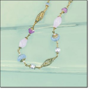 Avon Long Sweet Sorbet Pastel Beaded Necklace Costume Jewelry Collectible Necklaces