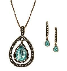 Avon Blissful Blues Drop Pendant Gift Set Necklace and Earrings loc29