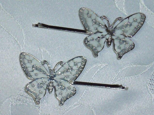 Enameled White hair jewelry bobbi (bobby) pins~ PAIR