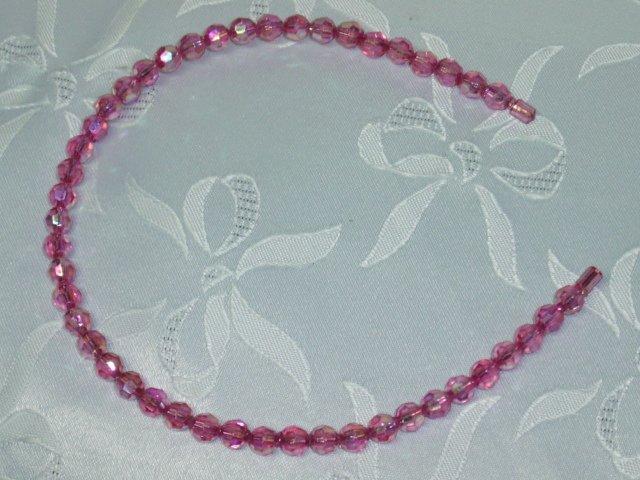 Pink Aurora Borealis Crystal Beaded Headband Hair Band flexible hair fascinator