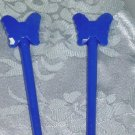 PAIR~BEAUTIFUL BLUE BUTTERFLY HAIR JEWELRY STICKS-