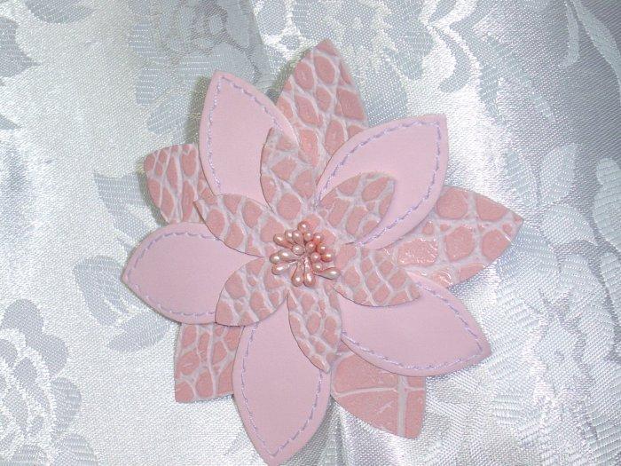 Pink leatherette/vinyl hair jewelry barrette flower