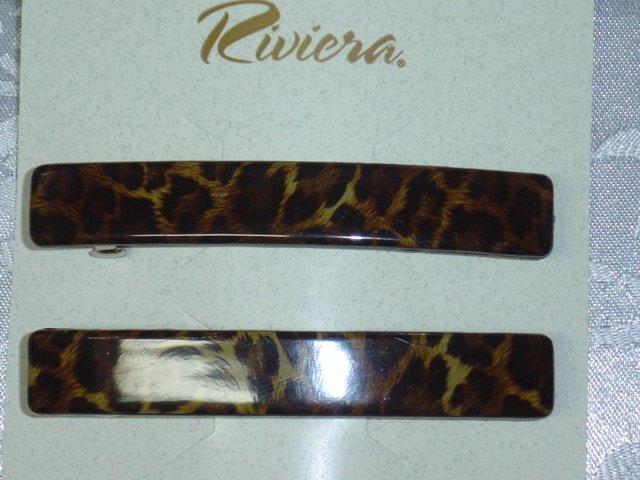 RIVERIA BRAND~ LEOPARD LOOK HAIR BARRETTES PAIR~ LONG HAIR JEWELRY BARRETTES PAIR
