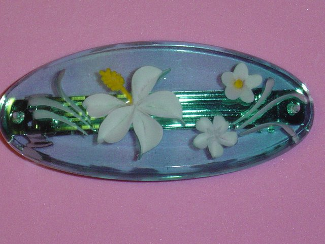 "TRI COSTAL DESIGNS acrylic flower hair jewelry barrette-aqua with ""embedded"" flowers in white"