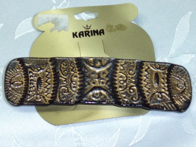 KARINA BARRETTE~STAMPED MADE IN FRANCE~HAIR JEWELRY BARRETTE~AZTEC LOOK