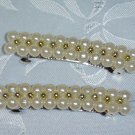 PAIR~FAUX PEARLS and GOLD TONE BEADS BARRETTE HAIR JEWELRY