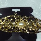 KARINA~HEAVYWEIGHT GOLD TONE ALL METAL FAUX PEARL HAIR JEWELRY BARRETTE ~DESIGNER