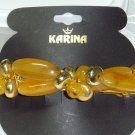 KARINA~DESIGNER BEADED HAIR JEWELRY BARRETTE~AMBER LOOK ACRYLIC BEADS