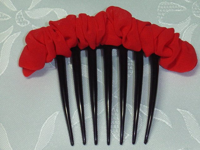 Red Chiffon Scrunched look Hair Jewelry French twist Hair Comb fascinator