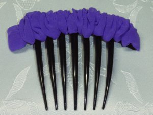 Purple Chiffon Fabric scrunched look French Hair Comb fascinator comb