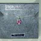 Pink Ice CZ Heart  ITALY .925 STERLING SILVER Box Chain Necklace and pendant