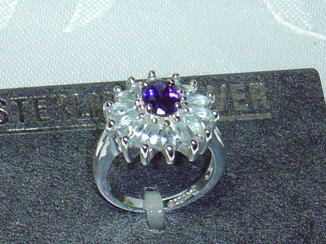 Genuine Blue Topaz & Amethyst .925 Sterling silver cocktail ring size 7