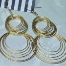 GOLD TONE METAL LARGE HOOP CHANDELIER EARRINGS