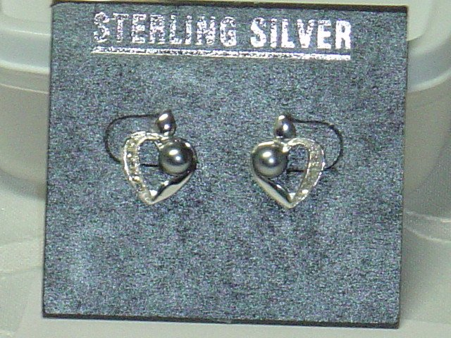 .925 Sterling silver post earrings Heart shaped with genuine black pearls